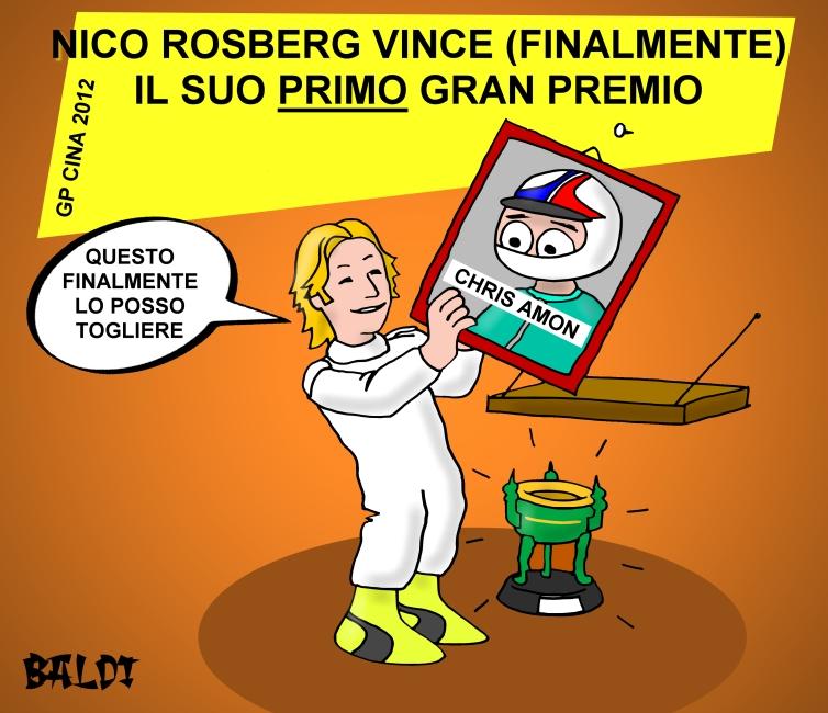 Нико Росберг снимает портрет Криса Эймона после победы на Гран-при Китая 2012 - комикс Baldi