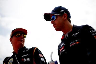 Кими Райкконен и Себастьян Феттель на параде пилотов в Монце на Гран-при Италии 2013