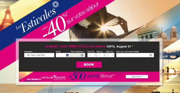 Accor雅高集團法國酒店優惠,全線1000間法國酒店減價低至6折,仲額外送多500雅高會員積分。