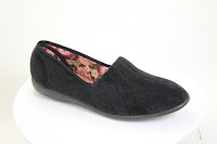 European-made black slipper, suitable for vegans