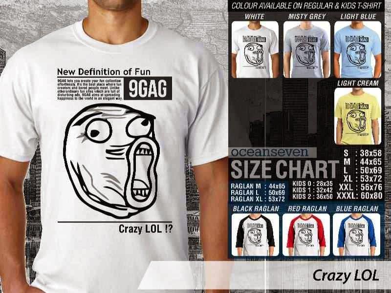 Jual Kaos 9Gag Lucu Meme Crazy LOL distro ocean seven