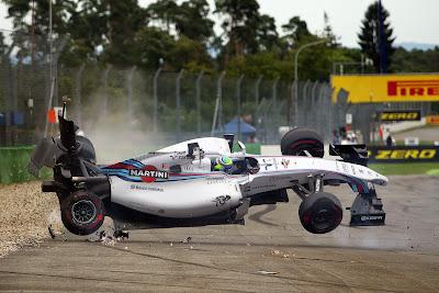 Фелипе Масса переворачивает Williams в первом повороте Гран-при Германии 2014