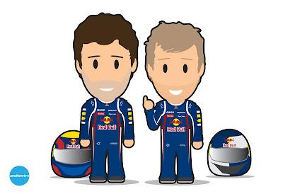 иллюстрация команды Red Bull Марк Уэббер и Себастьян Феттель via CaptNorth