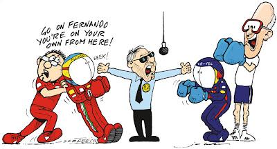 Фернандо Алонсо и Себастьян Феттель на ринге - комикс Jim Bamber