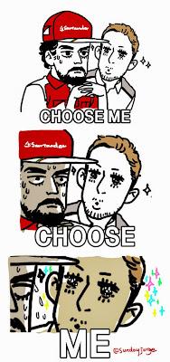 Дженсон Баттон просит Фернандо Алонсо выбрать его в качестве напарника на пресс-конференции - комикс Sunday Jorge по Гран-при Абу-Даби 2014