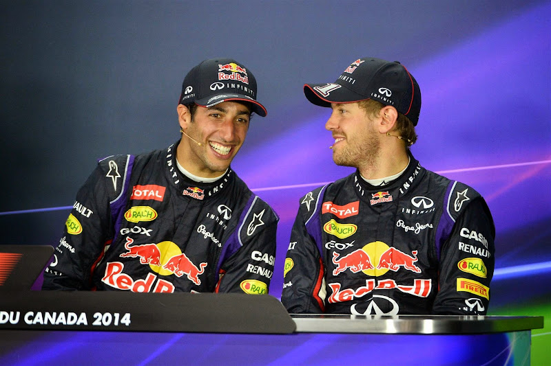Даниэль Риккардо и Себастьян Феттель на пресс-конференции после гонки на Гран-при Канады 2014