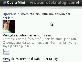 Connect Opera Mini dengan Facebook