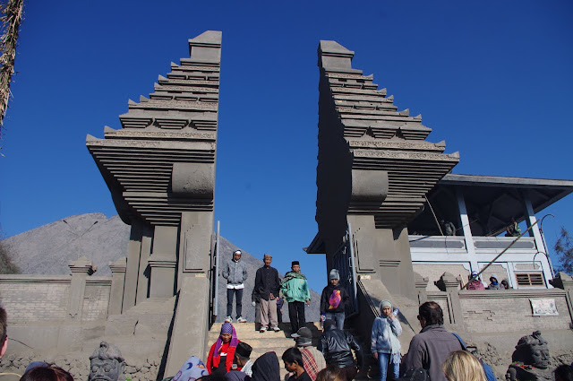 Covered in a layer of fine ash, the Pura Luhur Poten Hindu temple sits at the base of Bromo.