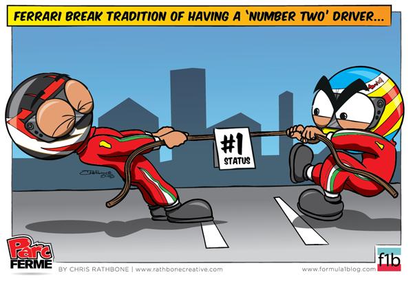 Кими Райкконен и Фернандо Алонсо борются за статус первого пилота в Ferrari - комикс Chris Rathbone