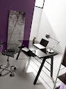 Table bureau verre noir