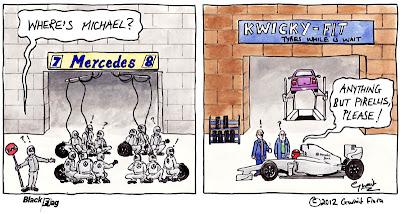 Михаэль Шумахер уезжает за новой резиной - комикс Black Flag