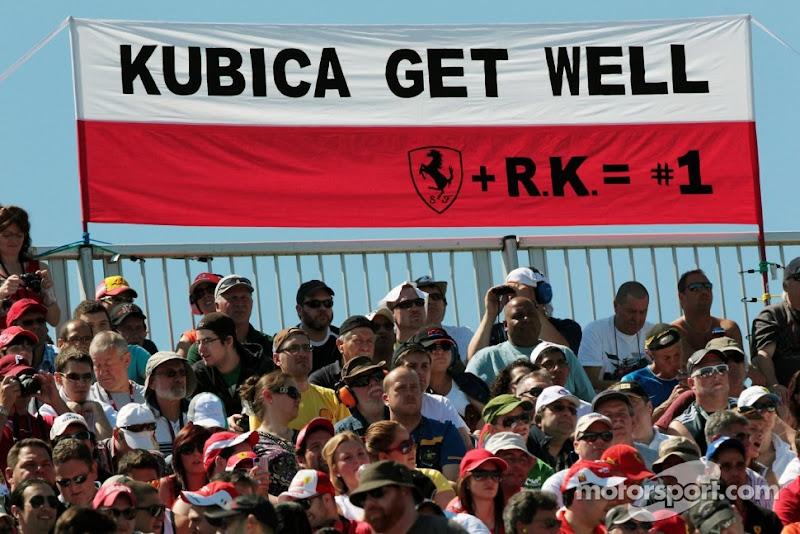 болельщики Роберта Кубицы пророчат поляка в Ferrari на трибунах Монреаля на Гран-при Канады 2012