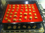 baking tray of die-shaped dough