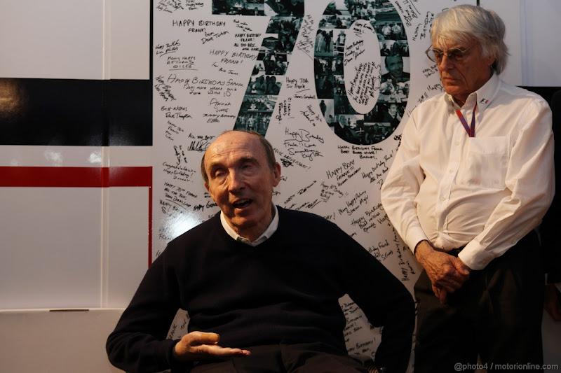Фрэнк Уильямс Берни Экклстоун на праздновании 70-летия на Гран-при Испании 2012