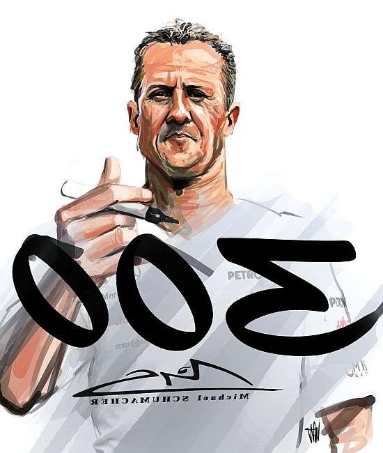 Михаэль Шумахер 300 гонка в Спа - карикатура Dejan Dimitrievski @KaiserDeyanD13