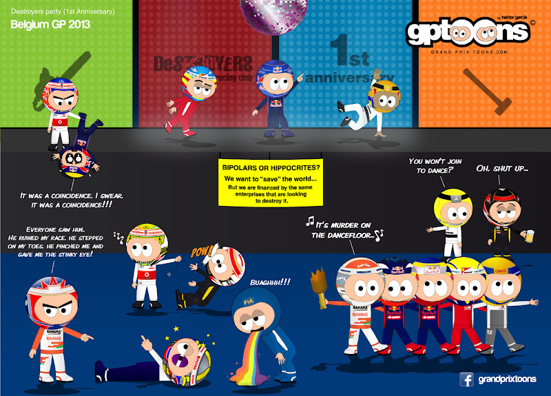 Destroyers party - комикс Grand Prix Toons по Гран-при Бельгии 2013