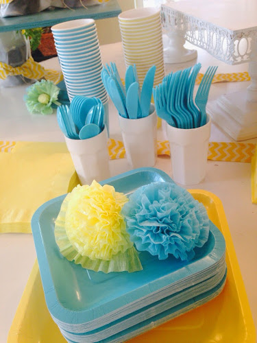 Party pail bridal shower, the style sisters, yellow and turquoise bridal shower