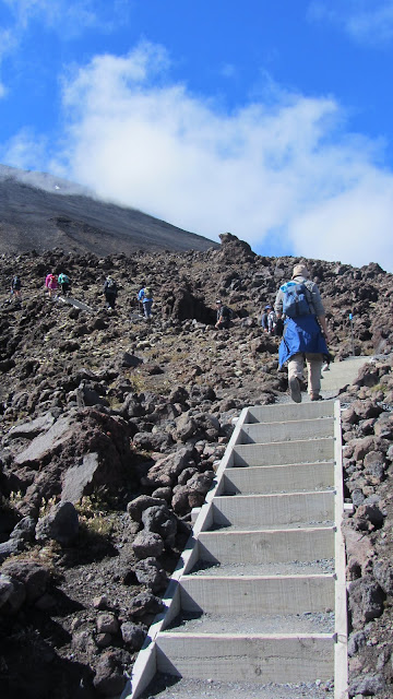 "Ascending the ""Devil's Staircase"" towards the South Crater."