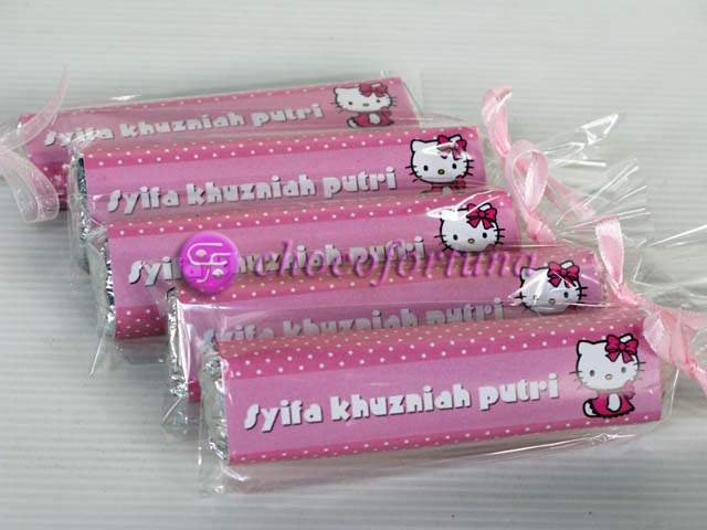Souvenir Aqiqah Cokelat coklat Chocobar one month baby shower hello kitty