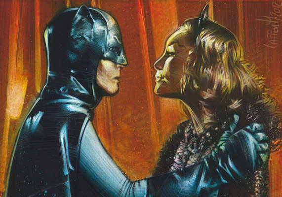 Adam West and Julie Newmar, Batman and Catwoman, ACEO Sketch Card by Jeff Lafferty