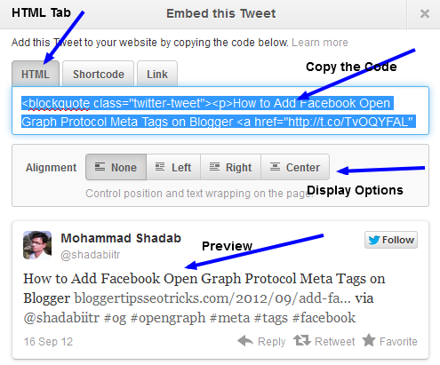 this is an official way to embed any tweets on blogs