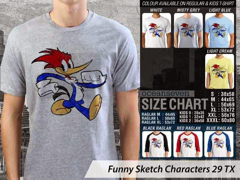 Kaos Kartun Lucu Funny Sketch Characters 29 woody woodpacker distro ocean seven