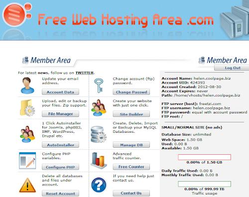 Painel do Free Web Hosting Area