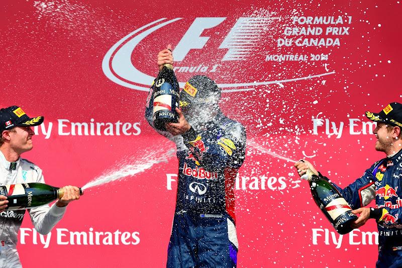 Даниэль Риккардо в шампанском Нико Росберга и Себастьяна Феттеля на подиуме Гран-при Канады 2014