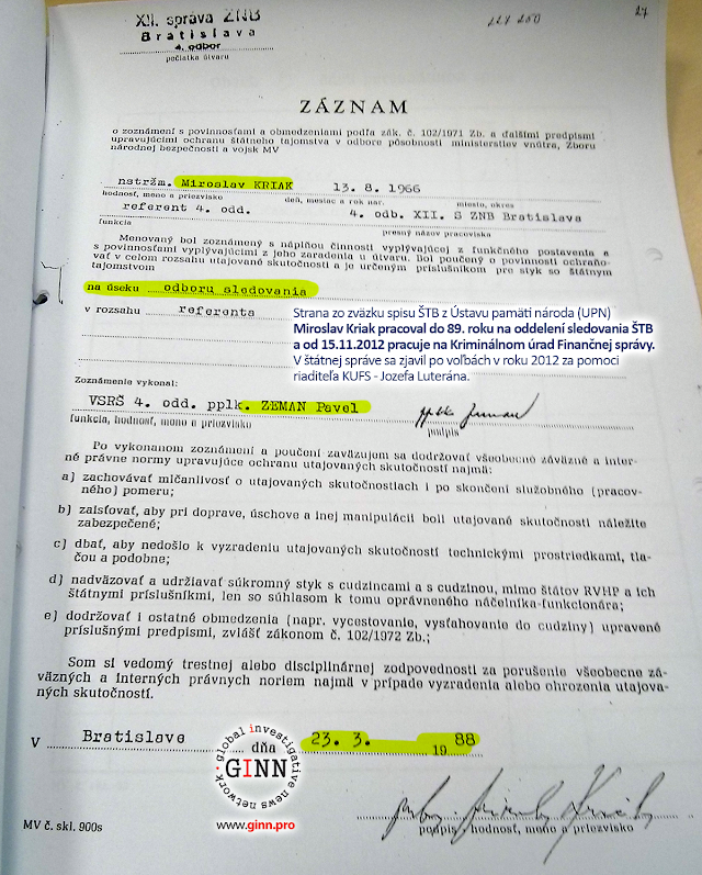 Miroslav Kriak. Strana zo zväzku spisu ŠTB z Ústavu pamäti národa (UPN)
