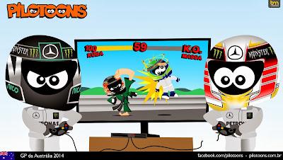 Нико Росберг и Льюис Хэмилтон разыгрывают Гран-при Австралии 2014 - комикс pilotoons