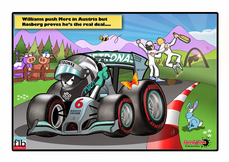 Нико Росберг побеждает Williams - комикс SpeedyHedz по Гран-при Австрии 2014