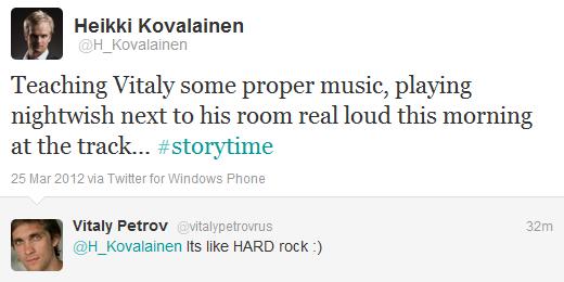 Хейкки Ковалайнен в твиттере о музыке и Виталии Петрове утром в воскресенье на Гран-при Малайзии 2012