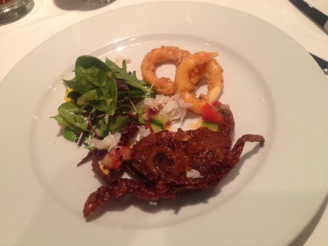 Soft shell crab deep fried and served with calamari rings