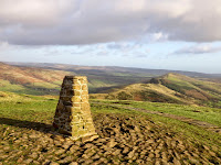 Mam Tor Summit Trig Point With The Great Ridge In The Background