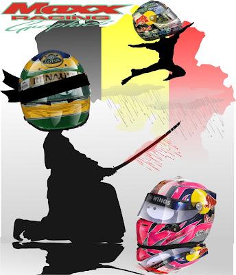 иллюстрация Maxx Racing - Бруно Сенна атакует Хайме Альгерсуари и Себастьян Феттель летит к победе на Гран-при Бельгии 2011