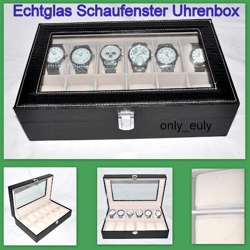 Leder-Uhrenkoffer-Uhrenbox-Schaukasten-mit-Echtglasfuer-12-Uhren-Uhrenschatulle