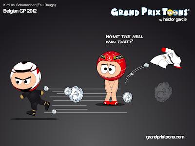 Кими Райкконен обгоняет Михаэля Шумахера в Eau Rouge на Гран-при Бельгии 2012 - комикс Grand Prix Toons