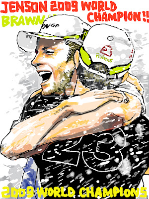 рисунок Дженсон Баттон и Рубенс Баррикелло обнимаются на Гран-при Бразилии 2009