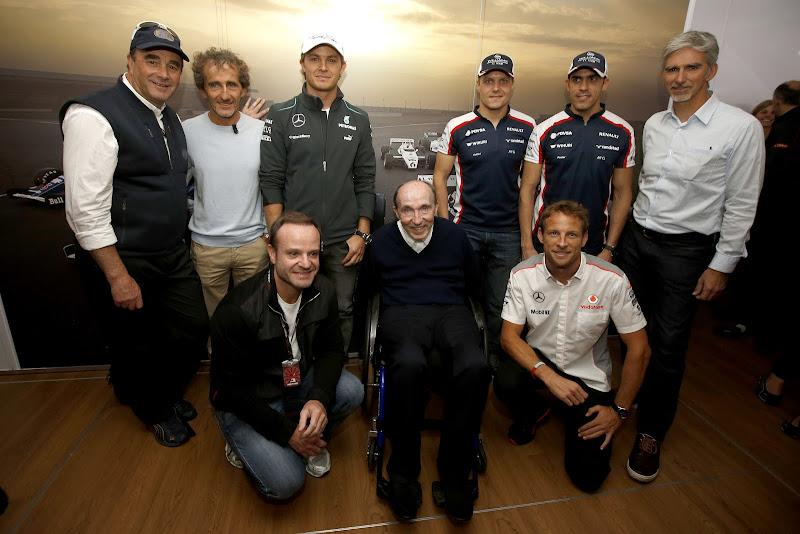 Фрэнк Уильямс со своими бывшими пилотами отмечает 600-ую гонку Williams на Гран-при Великобритании 2013