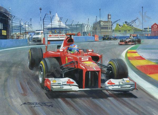 Фернандо Алонсо за рулем Ferrari в Валенсии на Гран-при Европы 2012 - картина Michael Turner