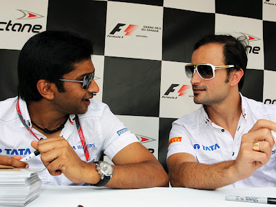 Нараин Картикеян и Витантонио Льюцци на автограф-сессии Монреаля на Гран-при Канады 2011