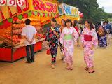 Women wearing yukata at the Ohori Fireworks Festival