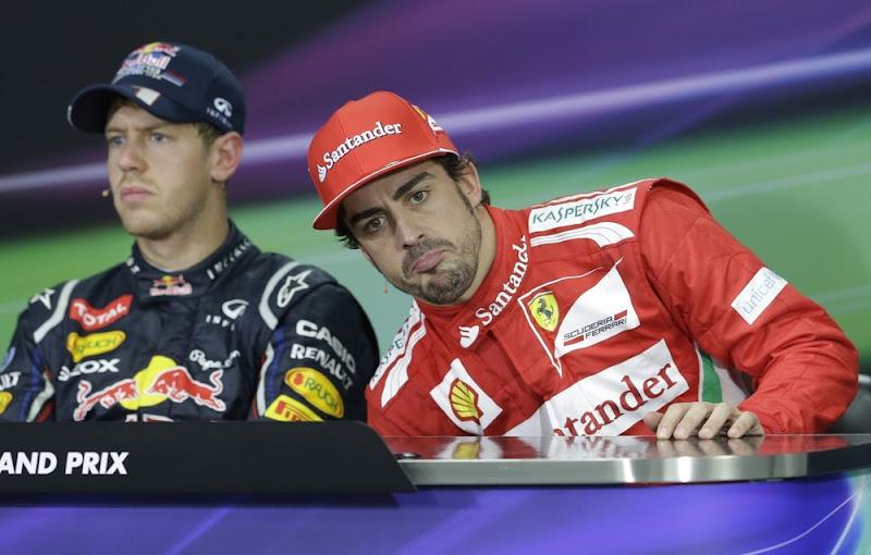Себастьян Феттель и Фернандо Алонсо на пресс-конференции в воскресенье на Гран-при Кореи 2012