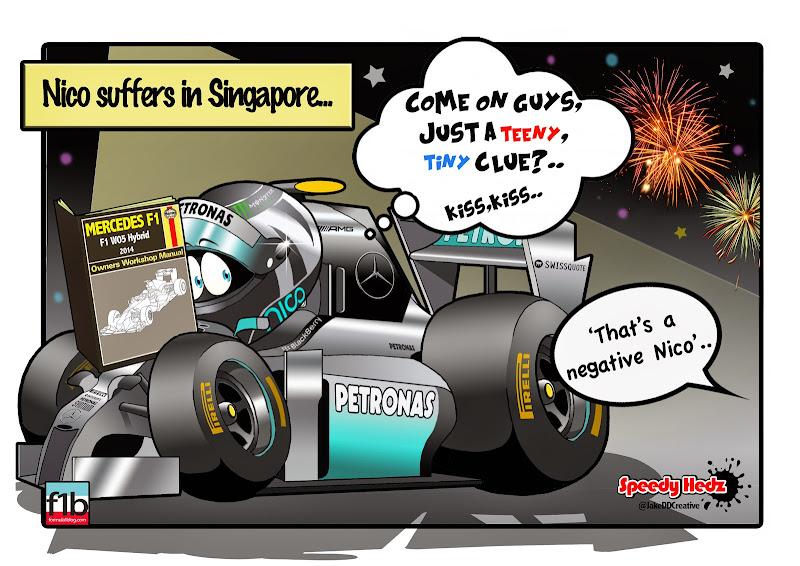 Нико Росберг не может завести свой Mercedes - комикс SpeedyHedz по Гран-при Сингапура 2014