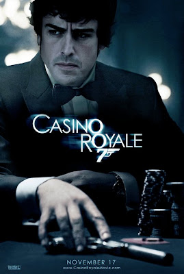 фотошоп Фернандо Алонсо в роли Джеймса Бонда на постере фильма Casino Royale