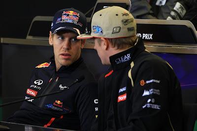 Себастьян Феттель и Кими Райкконен на пресс-конференции в четверг на Гран-при США 2012