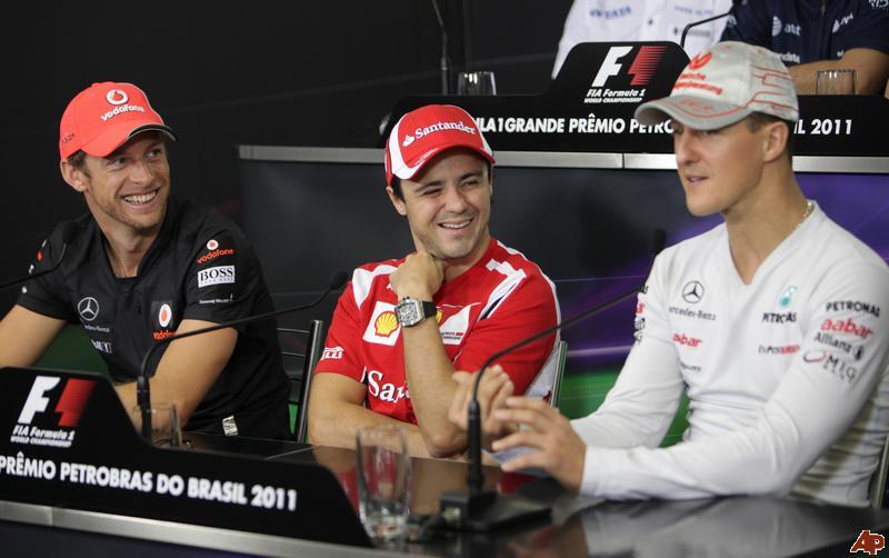 Дженсон Баттон Фелипе Масса Михаэль Шумахер на пресс-конференции в черверг на Гран-при Бразилии 2011