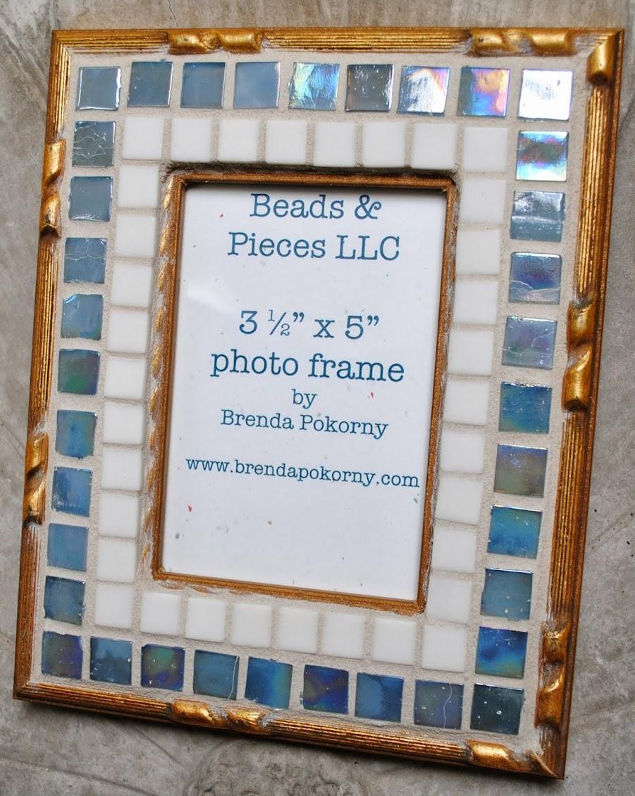 "Smoke Blue & Ivory 3 1/2"" x 5"" Mosaic Photo Frame MOF1381"