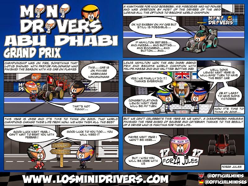 комикс MiniDrivers по гонке на Гран-при Абу-Даби 2014