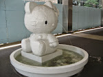 In the Lever House courtyard - Hello Kitty fountains...crying tears